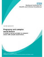Guía NICE: Pregnancy and complex social factors. Septiembre 2010