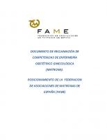 ESTATAL. Documento de reclamación de competencias de enfermería obstétrico ginecológica (Matrona)