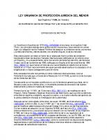 ESTATAL. Ley Orgánica de protección jurídica del menor. Ley Orgánica 1-1996, de 15 enero de modificación parcial del Código Civil y de la Ley de Enjuiciamiento Civil.