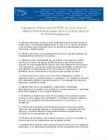 EUROPEA. Extracto de la Resolución A2-25-86, de 13 de mayo de 1986 del Parlamento Europeo sobre la Carta Europea de los Niños Hospitalizados.