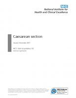 Guía NICE. Caesarean section. Noviembre. 2011