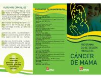 Junta de Castilla y León. Programa de detección precoz de cáncer de mama. Tríptico nuevo