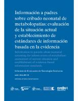 Ministerio de Ciencia e Innovación. Información a padres sobre cribado neonatal de metabolopatías. 2007
