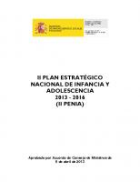 Ministerio de Sanidad, Servicios Sociales e Igualdad. II Plan Estratégico Nacional de Infancia y Adolescencia 2013-2016. 2013