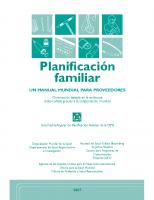 OMS. Planificación familiar. Un manual para proveedores. 2007