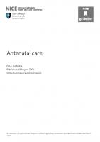 ANTENATAL CARE . NICE 2021